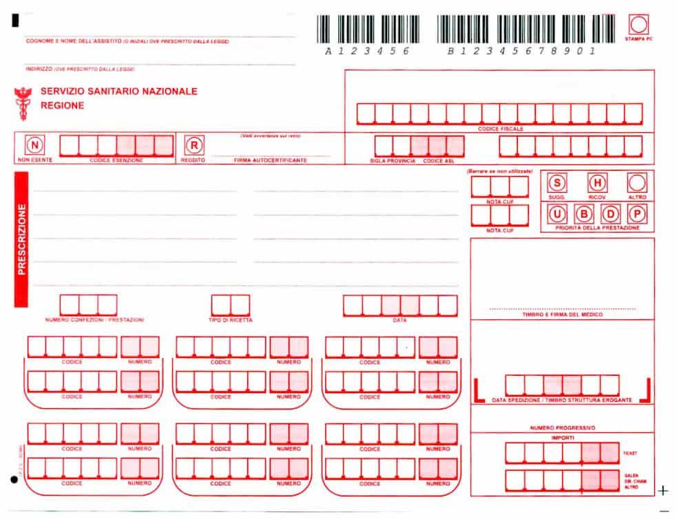 Red prescription used to access public healthcare in Italy