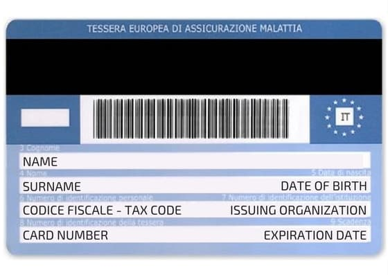 Flip side of an Italian Health Card