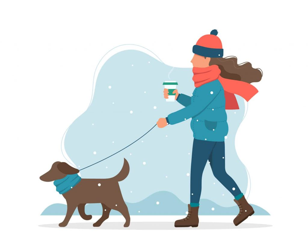 woman with sore throat walking with her dog