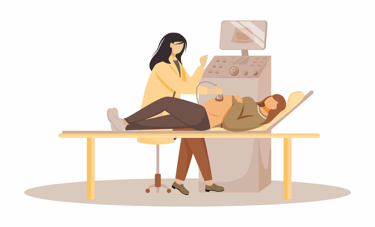Ultrasound illustration. Pregnant woman with doctor in clinic