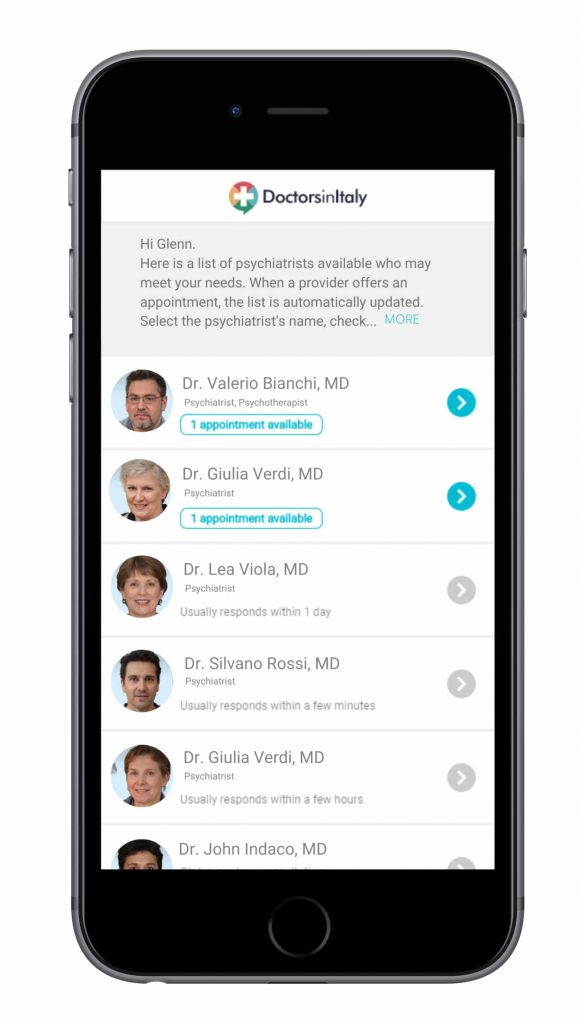 mobile app to find an english speaking psychiatrist