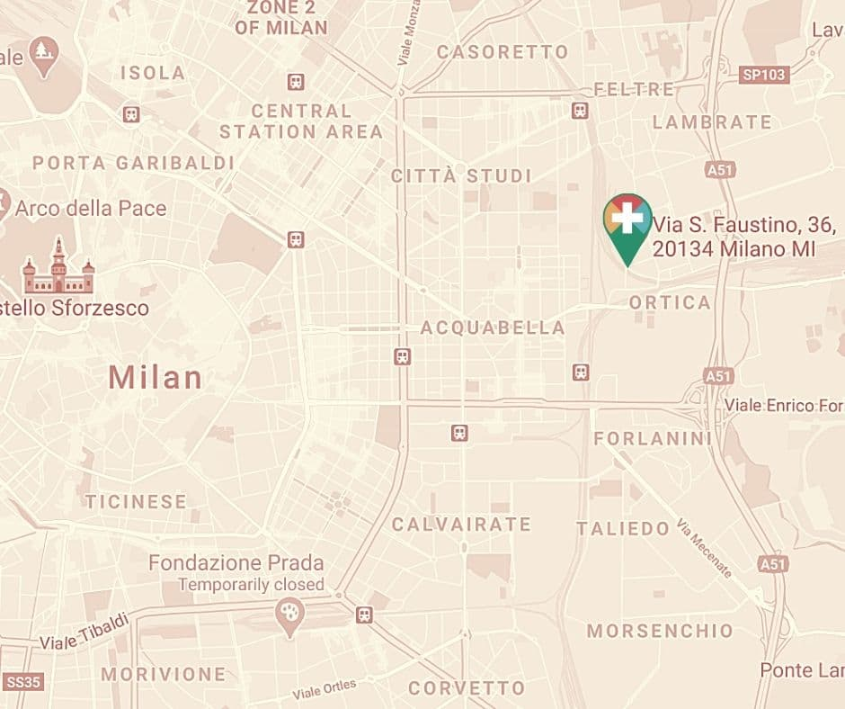 Medical clinic in Milan map